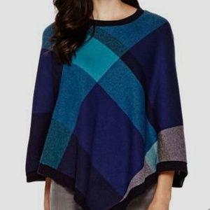 Liz Claiborne Blue Plaid Sweater Poncho NWT